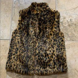 NWT J.Crew leopard faux fur vest